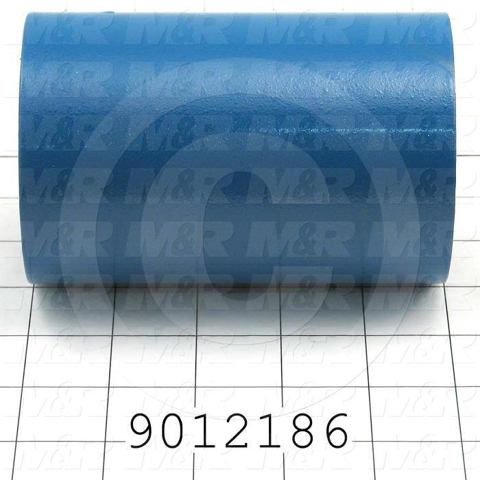 Fabricated Parts, Carous. Distance Bushing, 5.00 in. Length, 3.25 in. Diameter, 11 GA Thickness, Painted Blue Finish