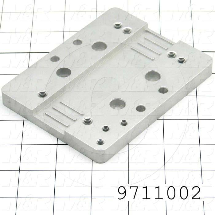 Fabricated Parts, Carriage Plate, 5.15 in. Length, 4.00 in. Width, 0.50 in. Thickness, Clear Anodized Finish