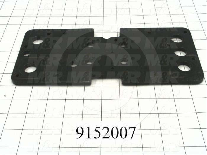 "Fabricated Parts, Carriage Plate 5""X 11.25""Lg T, 11.25 in. Length, 5.00 in. Width, 5/16 in. Thickness, Powder Coat Black Finish"