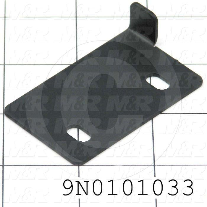 Fabricated Parts, Corner Glass Right Brkt, 2.50 in. Length, 1.50 in. Width, 0.56 in. Height, 16 GA Thickness, Satin Black Finish