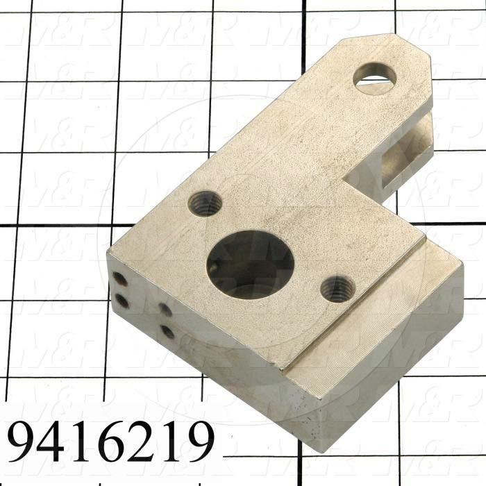 Fabricated Parts, Cylinder Attach. Block Left, 4.13 in. Length, 2.88 in. Width, 1.00 in. Thickness, Nickel Plated Finish