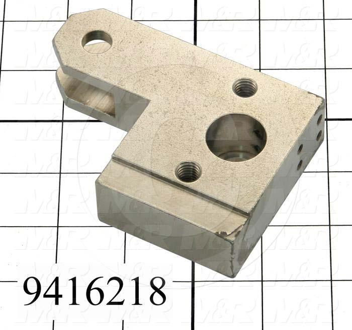 Fabricated Parts, Cylinder Attach.Block Right, 4.13 in. Length, 2.88 in. Width, 1.00 in. Thickness, Nickel Plated Finish