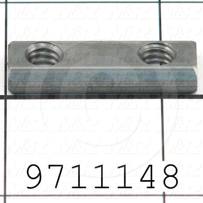 Fabricated Parts, Double Economy T-Nut, 1.22 in. Length, 0.44 in. Width, 0.19 in. Thickness, Break All Sharp Edges