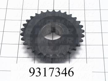 "Fabricated Parts, Drive Sprocket, 1.00 in. Width, 1 1/4"" Shaft 30 Teeth 3/8"" Pitch"