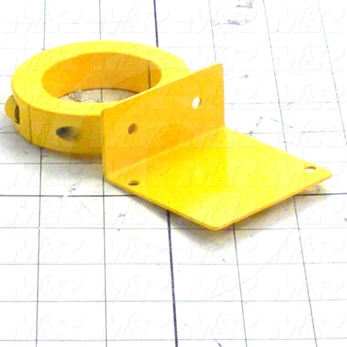 Fabricated Parts, Emergency Stop Brkt, 53.63 in. Length, 3.00 in. Width, 1.25 in. Height, Safety Yellow Finish