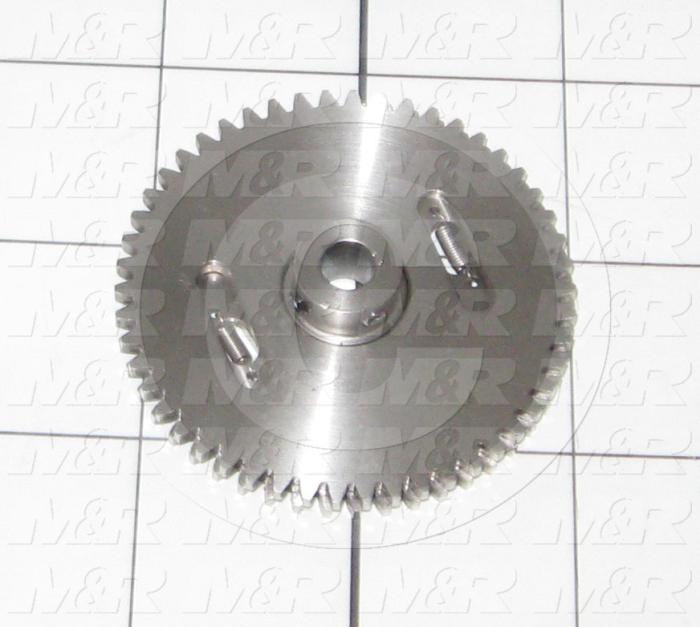 Fabricated Parts, Encoder Gear 50 Teeth, 2.08 in. Diameter, 0.43 in. Thickness, As Material Finish