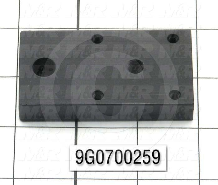 Fabricated Parts, End Plate, 2.85 in. Length, 1.50 in. Width, 0.50 in. Height, Black Oxide Finish