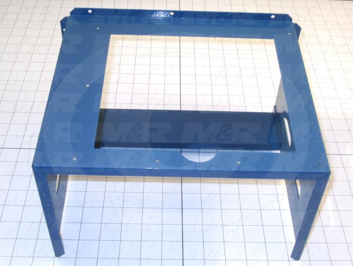Fabricated Parts, Exhaust Duct Weldment, 12.40 in. Length, 9.94 in. Width, 7.44 in. Height, Painted Blue Finish