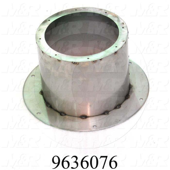 "Fabricated Parts, Exhaust Flange Weldm 10"" S2, 10.00 in. Length, 7.75 in. Height, 14.44 in. Diameter, As Material Finish"