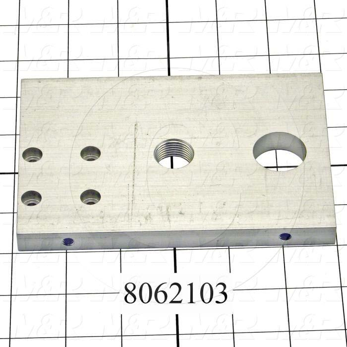 Fabricated Parts, Front End Plate, 5.61 in. Length, 4.00 in. Width, 0.50 in. Thickness
