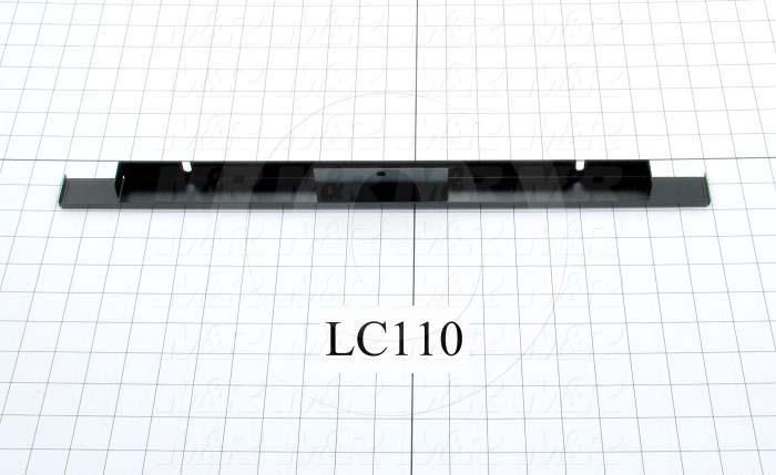 Fabricated Parts, Front Safety Glass Support, 19.69 in. Length, 1.88 in. Width, 0.81 in. Height, Black Finish