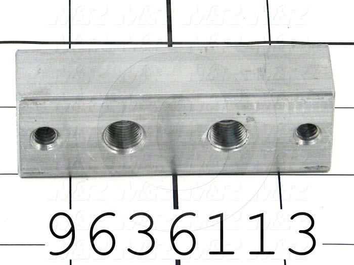 Fabricated Parts, Grease Fitting Block, 3.00 in. Length, 1.00 in. Width, 3/4 in. Thickness
