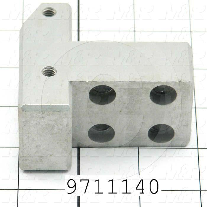 Fabricated Parts, Gripper Lift Cyl. Block, 2.88 in. Length, 2.63 in. Width, 1.50 in. Height, Clear Anodized Finish