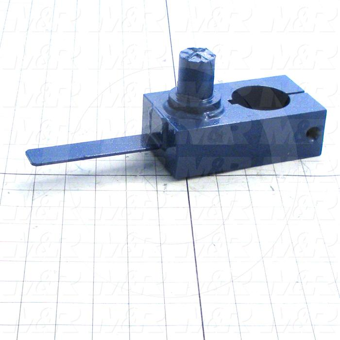 Fabricated Parts, Head Lift Crank Weldment, 9.00 in. Length, 3.00 in. Width, 1.75 in. Height, Painted Blue Finish