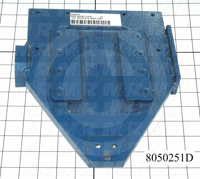 Fabricated Parts, Index Mounting Plate, 10.38 in. Length, 8.50 in. Width, 2.00 in. Height