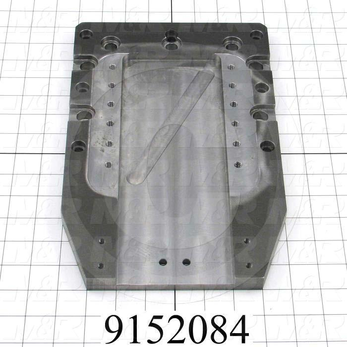 Fabricated Parts, Index Mounting Plate, 12.50 in. Length, 8.00 in. Width, 3/4 in. Thickness, Do not painted machined Surfaces., Painted Blue Finish