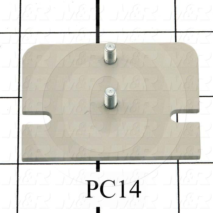 Fabricated Parts, Latch Mount Plate, 2.25 in. Length, 1.75 in. Width, 14 GA Thickness, Warm Gray #3 Finish
