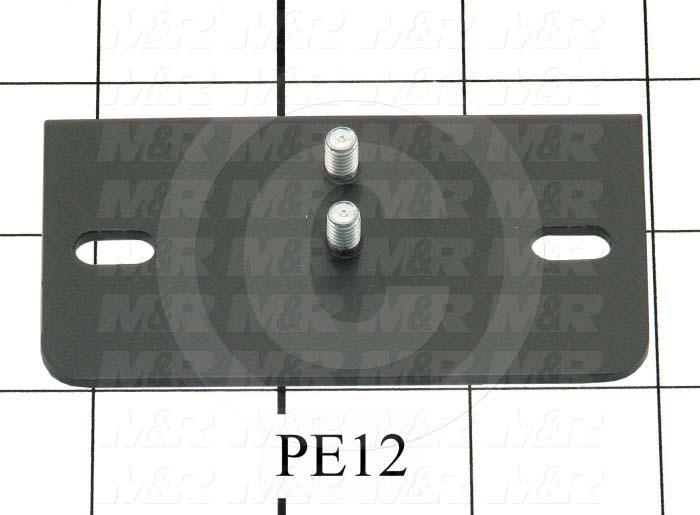 Fabricated Parts, Latch Plate, 3.31 in. Length, 1.75 in. Width, 13 GA Thickness, Black Finish