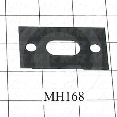 Fabricated Parts, Latch Strike Shim, 1.50 in. Length, 2.56 in. Width, 0.035 in. Thickness, Used On Vacuum Frame Assembly