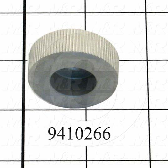 "Fabricated Parts, Off Cont. Lock Knob 1.5""Od Rl, 0.56 in. Length, 1.63 in. Diameter, Clear Anodized Finish"
