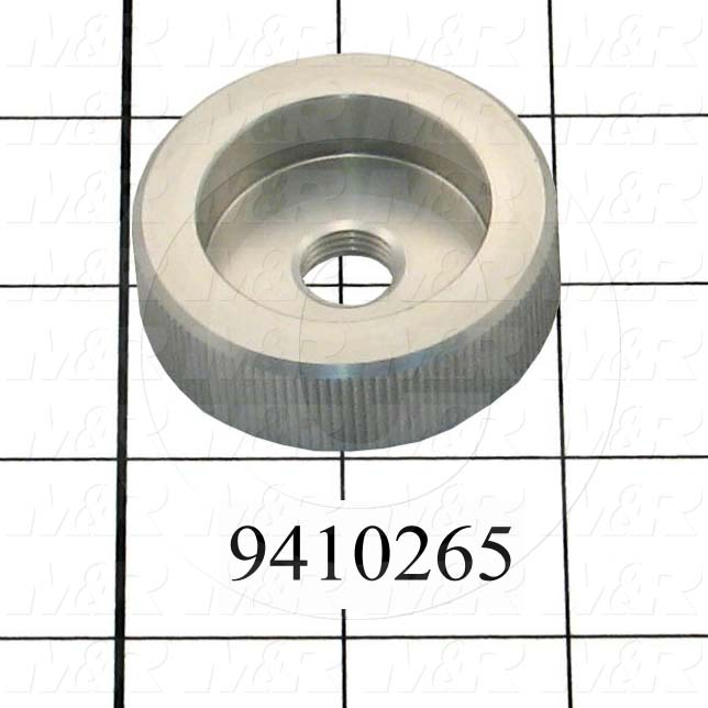 Fabricated Parts, Off Contact Adjustment Knob, 0.63 in. Width, 2.00 in. Diameter, OC50003 Clear Anodizing Finish