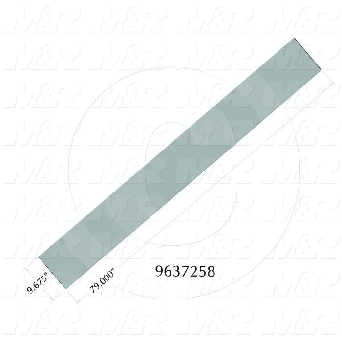 Fabricated Parts, Oven Inlet Outlet Wall, 79.00 in. Length, 9.68 in. Width, 0.75 in. Height, 16 GA Thickness