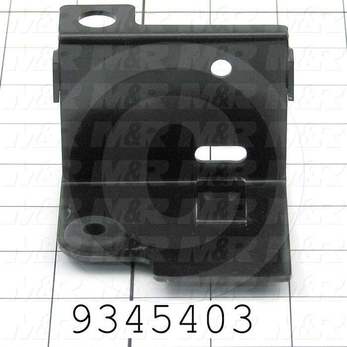 Fabricated Parts, Prox Mtg. Bracket -Front, 3.34 in. Length, 3.15 in. Width, 2.24 in. Height, 14 GA Thickness, Semi-Gloss Black Finish