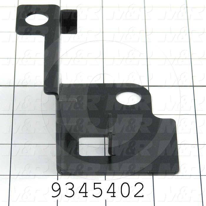 Fabricated Parts, Prox Mtg. Bracket Rear, 3.43 in. Length, 3.15 in. Width, 2.24 in. Height, 14 GA Thickness, Semi-Gloss Black Finish