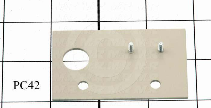 Fabricated Parts, Proximity Switch Mounting Plate, 2.81 in. Length, 1.75 in. Width, 0.063 in. Thickness, Warm Gray #3 Finish