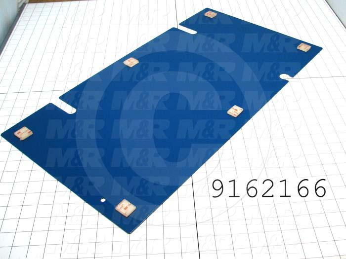 "Fabricated Parts, Right Base Cover 26.150""L Sp, 26.06 in. Length, 13.87 in. Width, 0.04 in. Height, 18 GA Thickness, Painted Blue Finish"