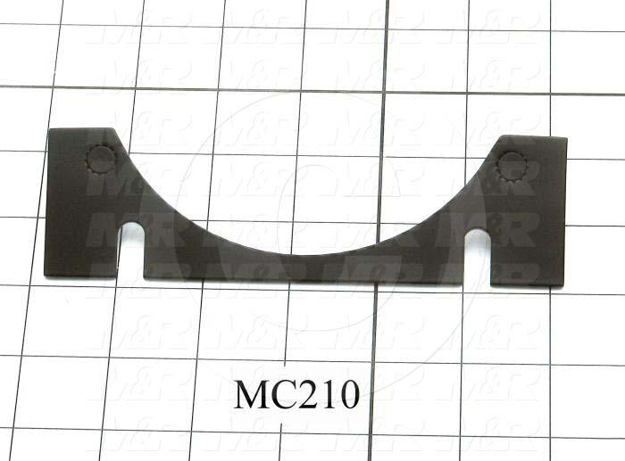 Fabricated Parts, Roller Mounting Plate, 6.00 in. Length, 1.75 in. Width, 0.09 in. Thickness, Black Finish