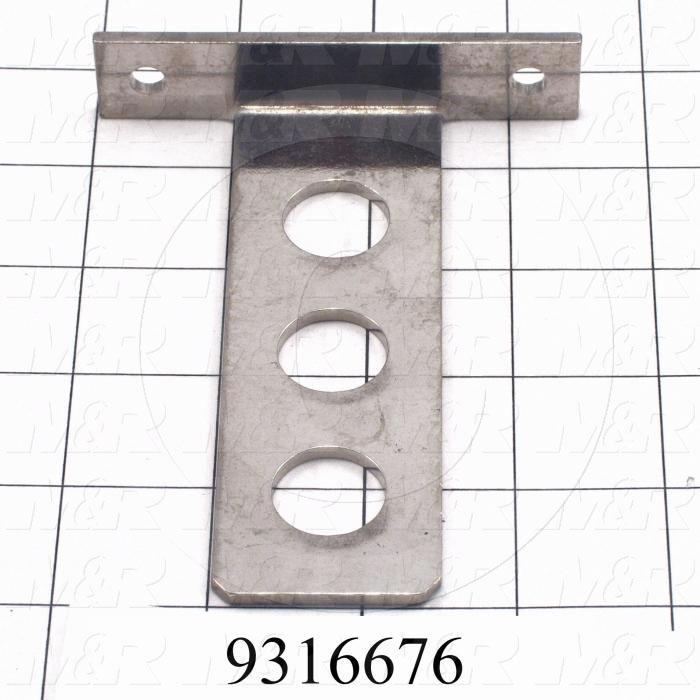 "Fabricated Parts, Sensor Holder 4.625""X 3.5"", 4.63 in. Length, 3.50 in. Width, 0.75 in. Height, 11 GA Thickness, Nickel Plated Finish"