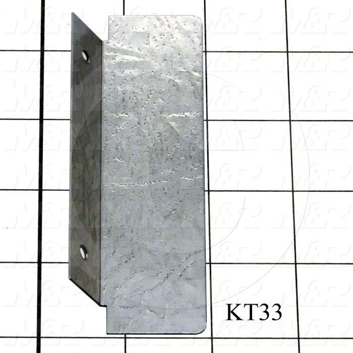 Fabricated Parts, Side Deflector, 4.50 in. Length, 1.62 in. Width, 0.63 in. Height, 20 GA Thickness, Bright Dip & Seal Finish
