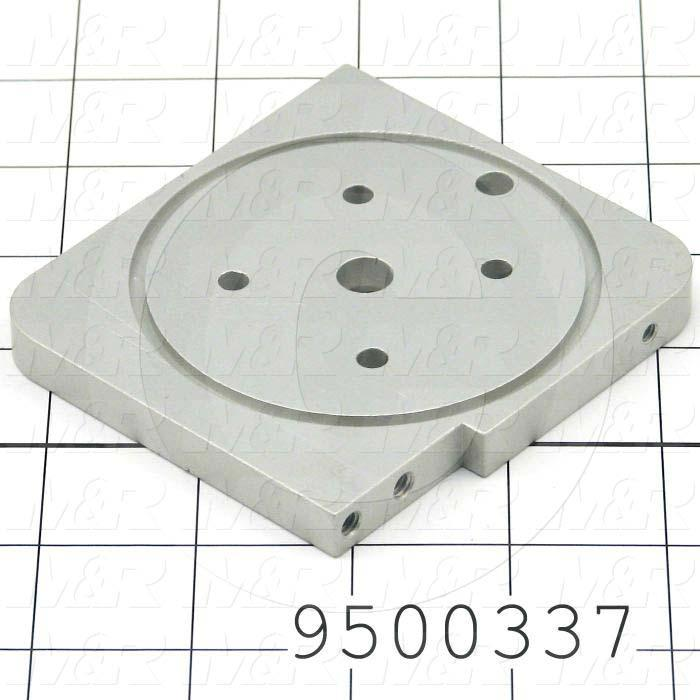 Fabricated Parts, Solenoid Bracket, 3.38 in. Length, 3.64 in. Width, 0.38 in. Thickness