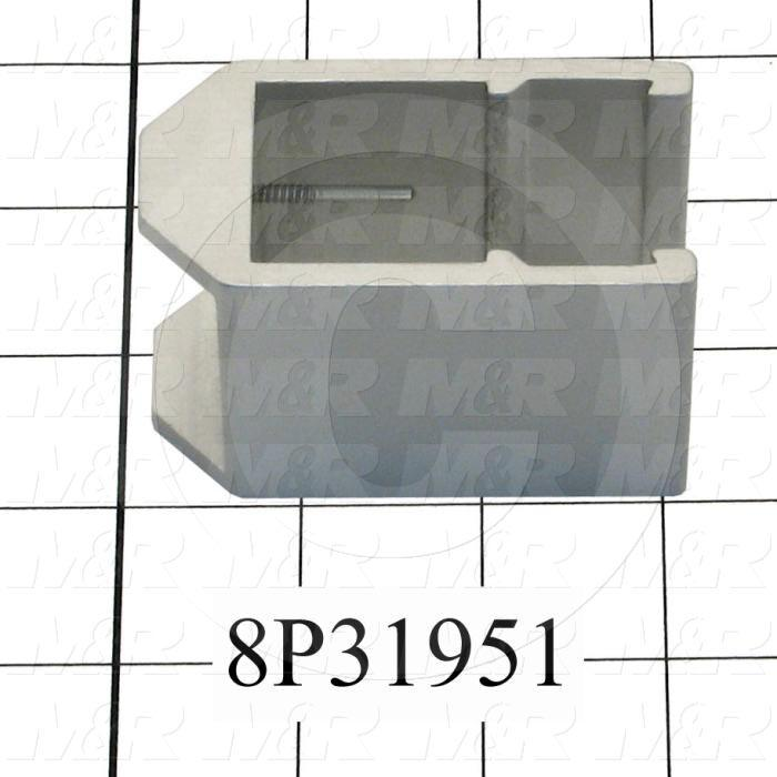 "Fabricated Parts, Sq./Fl. Bar Clamp 3.01"", 3.01 in. Length, 2.13 in. Width, 1.53 in. Height, Clear Anodized Finish"