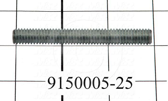 Fabricated Parts, Threaded Rod, 3.00 in. Length, 3/8-16 Thread Size