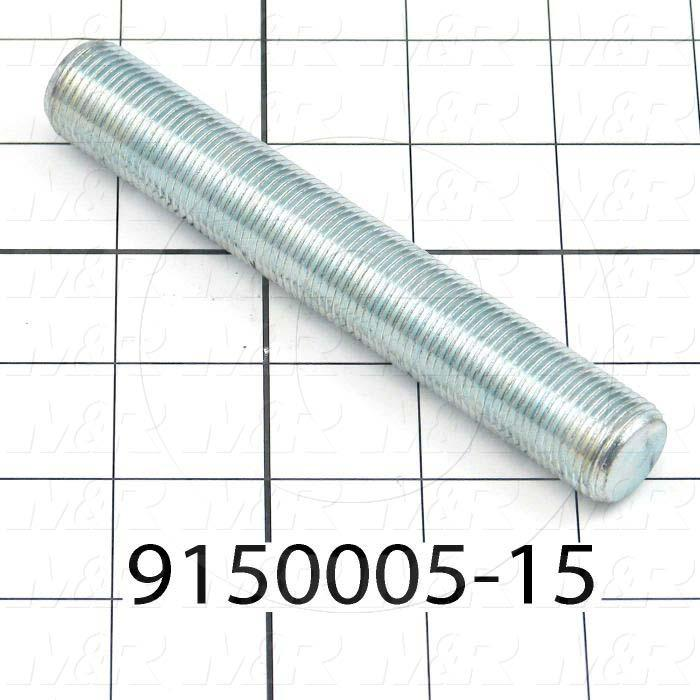 Fabricated Parts, Threaded Rod 3/4-16 X 5 in. Length, 5.00 in. Length, 3/4-16 Thread Size, Zinc Plated Finish