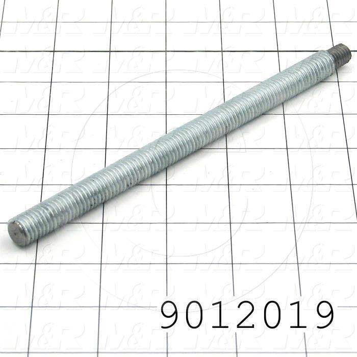 Fabricated Parts, Threaded Stud, 7.53 in. Length, 1/2-13 Thread Size