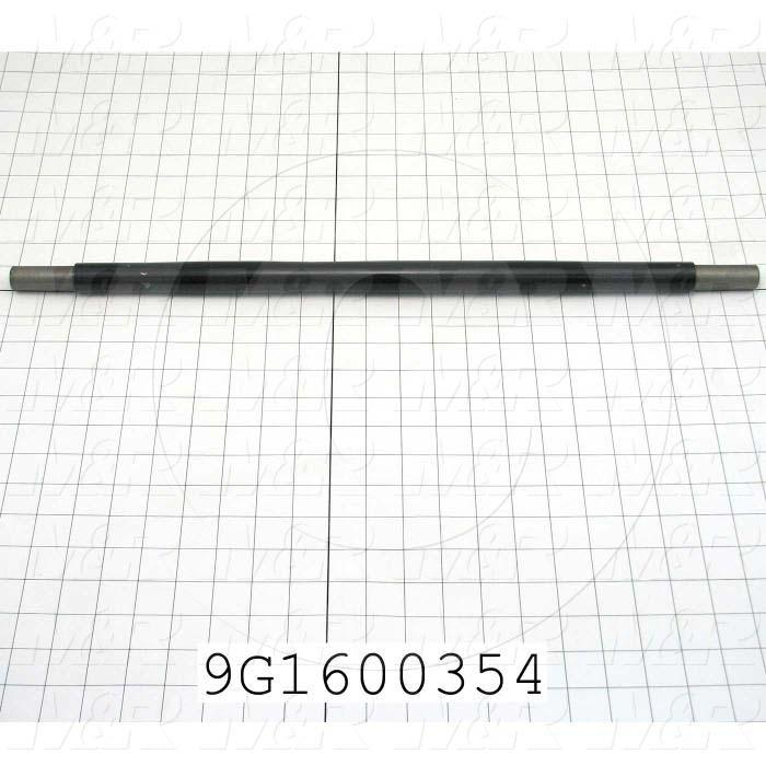 Fabricated Parts, Upper Outfeed Take Up Roller, 23.00 in. Length, 1.00 in. Diameter, Black Powder Coat Finish