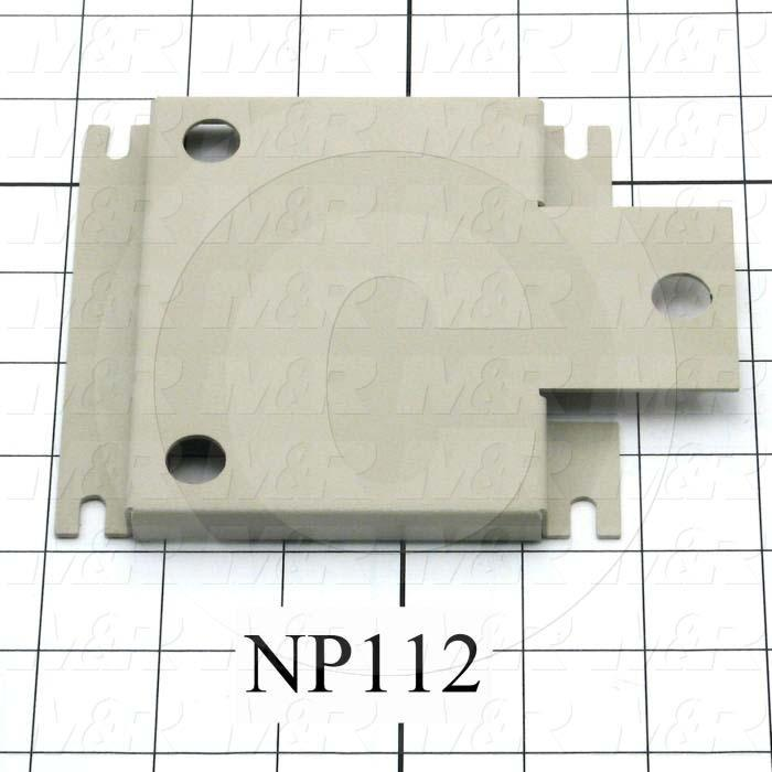 Fabricated Parts, Vacuum Pump Mounting Bracket, 5.75 in. Length, 4.63 in. Width, 0.38 in. Height, Warm Gray #3 Finish