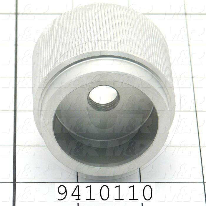 Fabricated Parts, Vacuum Table Micro Registration X-Y Knob, 1.50 in. Length, 2.25 in. Diameter, Clear Anodized Finish