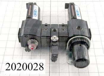 "Filter - Regulator - Lubricator, 1/2"" NPT Port In, With Gauge, Manual Drain, With Pressure Sensor"