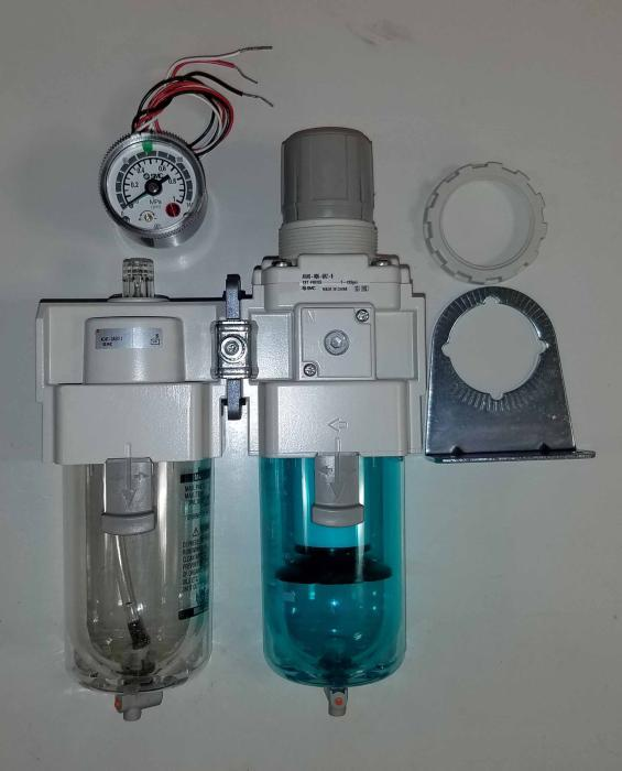 "Filter - Regulator - Lubricator, 3/4"" NPT Port In, With Gauge, Manual Drain"