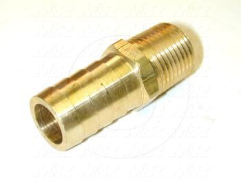 "Fitting, 1/2 NPT Port Size, 3/4"" Tube OD, Straight, Male"