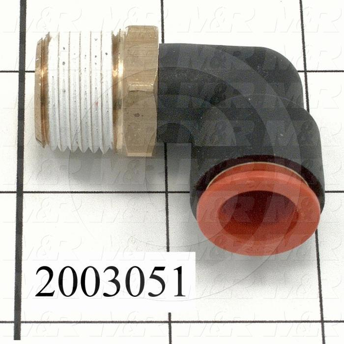 "Fitting, 1/2 NPT Port Size, Single Mounting Type, 1/2"" Tube OD, Elbow"