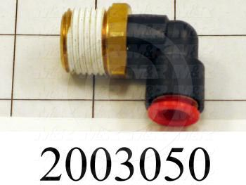 "Fitting, 1/2 NPT Port Size, Single Mounting Type, With Seal, 3/8"" Tube OD, Elbow"