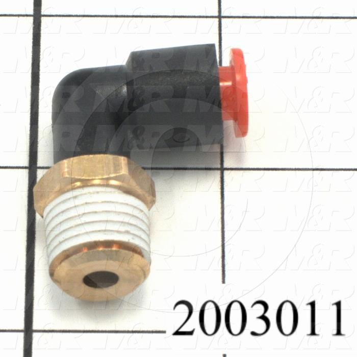 "Fitting, 1/4 NPT Port Size, Single Mounting Type, 1/4"" Tube OD, Elbow"