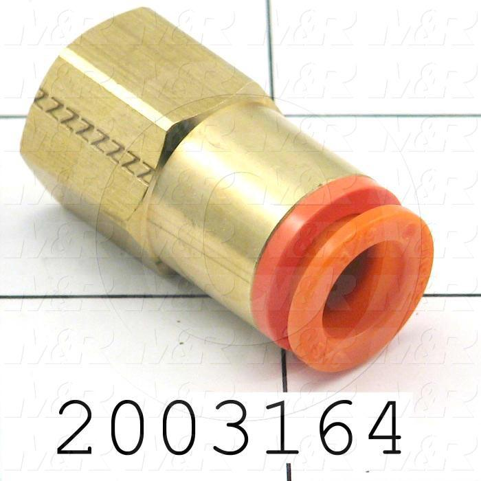 "Fitting, 1/4 NPT Port Size, Single Mounting Type, 3/8"" Tube OD, Straight, PT 1/8 Fitting In"
