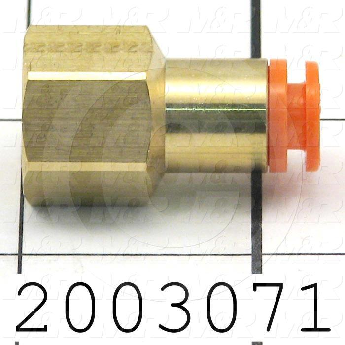 "Fitting, 1/4 NPT Port Size, Single Mounting Type, W/O Seal, 1/4"" Tube OD, Straight, PT 1/8 Fitting In"