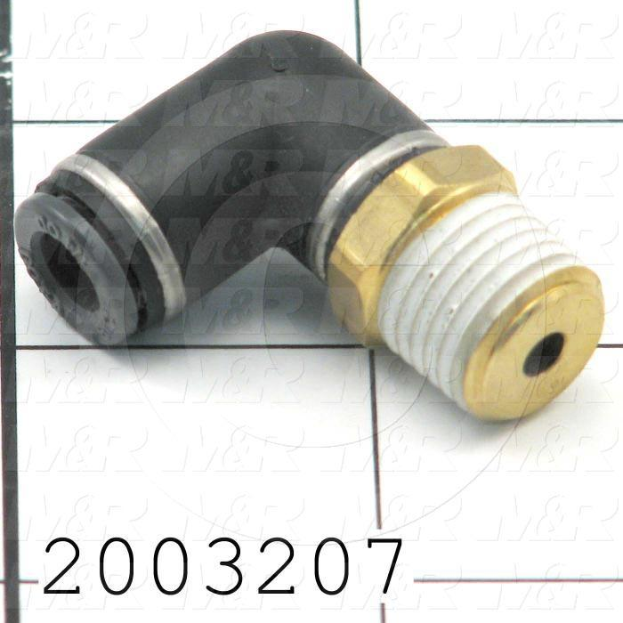 "Fitting, 1/4 NPT Port Size, Single Mounting Type, With Seal, 1/4"" Tube OD, Elbow, Male"